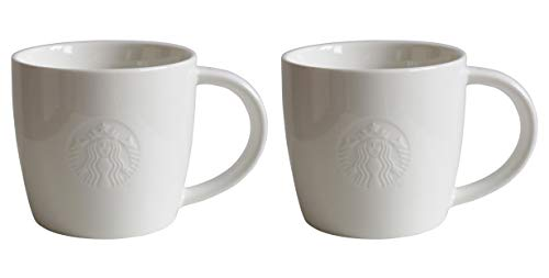 STARBUCKS Taza Tall Fore Here, serie Blanca Coleccionistas Set Variations Tall Short – 2 – Alto/355 ml