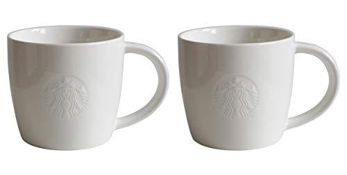 Starbucks - Taza de desayuno (alta y corta), color blanco, porcelana, Blanco, Tall/12oz/355ml