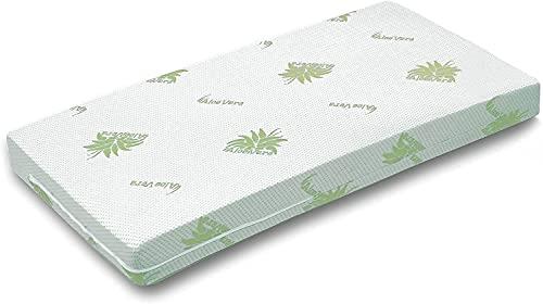 Materasso per Culla Lettino Bimbo Rivestimento sfoderabile e Lavabile in Lavatrice Antiacaro (60x125 Aloe)