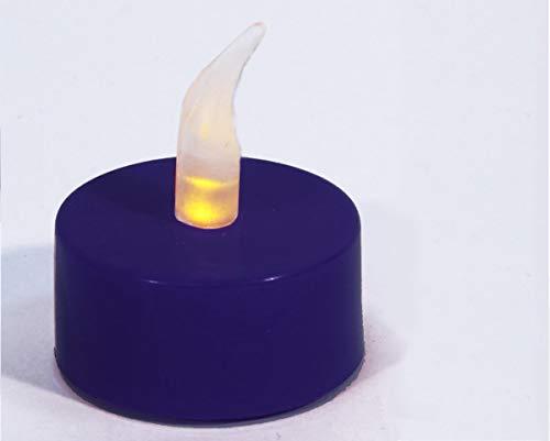 Velas de té LED de color lila, de plástico, funciona con pilas