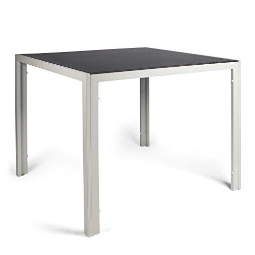 Vanage Aluminium Gartentisch in Grau mit Strukturierter Glasplatte in Schwarz - Gartenmöbel - Aluminiumtisch für Garten, Terrasse und Balkon Geeignet - 90 x 90 cm