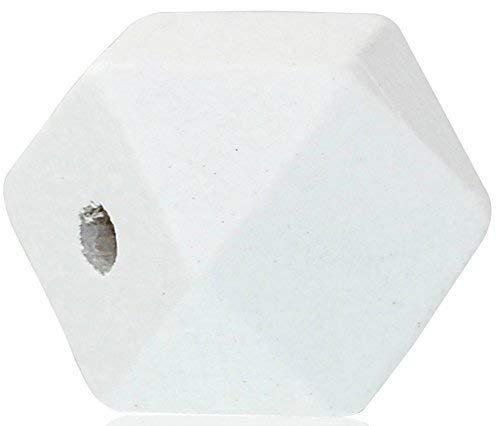 SiAura Material ® - 10 Stück Polygon Holzperlen 20x20mm mit 3,7-4,2mm Loch geometrische Form, Weiß zum Basteln