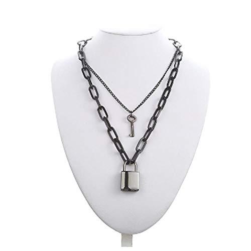 LMK Punk Doppelkette Halskette Silberkette Ring Vorhängeschloss Anhänger Halskette Unisex Gothic Schmuck, Q