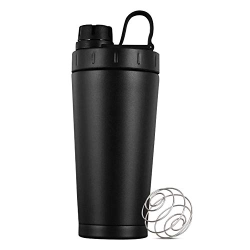 DR.PREPARE Protein Shaker Bottle 18oz, Stainless-Steel Sports Water Bottle, BPA-Free Shaker Cup with Double-Wall, Twist-On Cap, Mixing Ball, Protein Powder Funnel for Gym, Sports and Travel