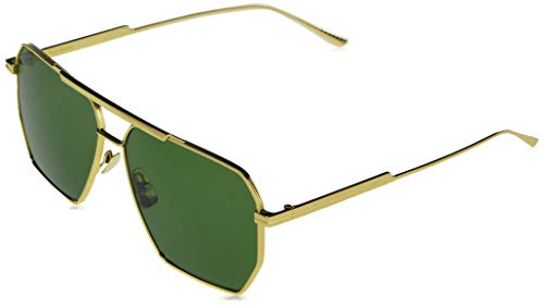 Bottega Veneta Women's Geometric Navigator Sunglasses, Gold/Gold/Green, One Size
