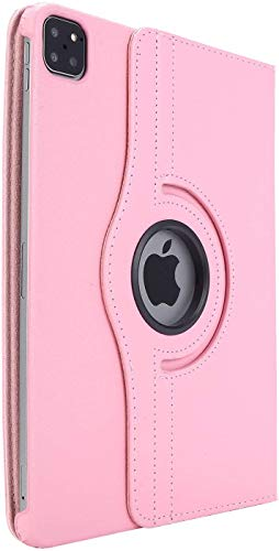 iPad Pro Case 11 inch 2020, TechCode 360 Degree Rotating PU Leather Slim Tablet Protector Smart Stand Feature Flip Folio Protective Case Sleeve for iPad Pro 11 2nd Generation (Pink)