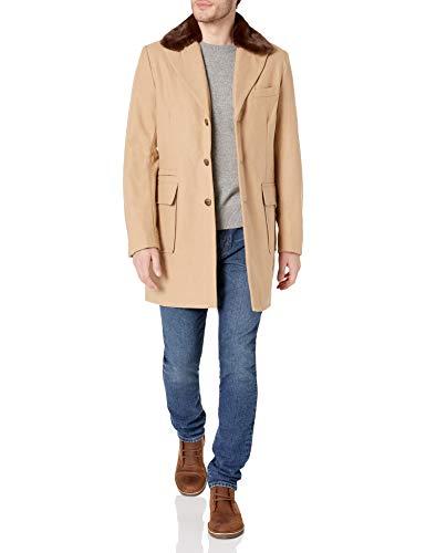 Sean John Men's Textured Wool Coat with Faux-Fur Collar, Camel, Medium