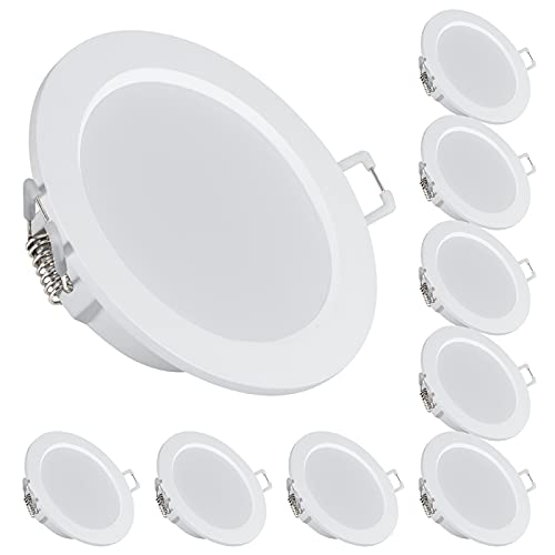 bapro Faretti LED da incasso per cartongesso Set da 9, 6W 500LM 3000K IP44 Ultra Slim Spot led incasso luci ultrasottili da soffitto, per bagno/soggiorno/camera da letto/cucina(Bianco caldo)