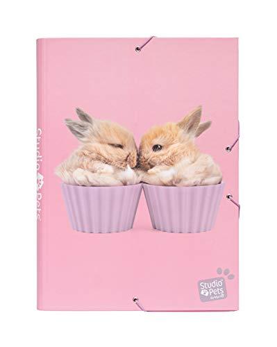 Erik® - Cartellina rigida con elastico Studio Pets Rabbits, cartone, 24x34 cm, ideale come cartellina portadocumenti A4