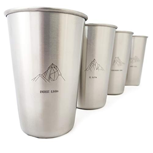 "Conjunto de vasos de acero inoxidable ""Geometric Mountains"