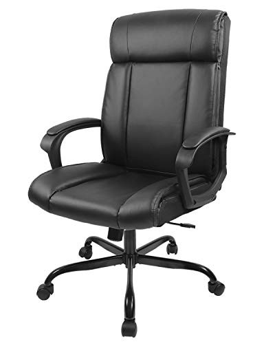 Office Chair PU Leather Chair Ergonomic Desk Chair Adjustable Task Chair High-Back Executive Swivel Chair Computer Chair with Lumbar Support