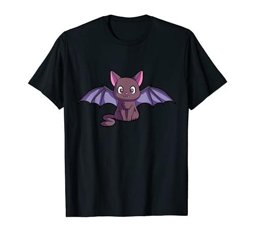 Lindo gato murciélago Halloween gatito espeluznante alas de gato Camiseta