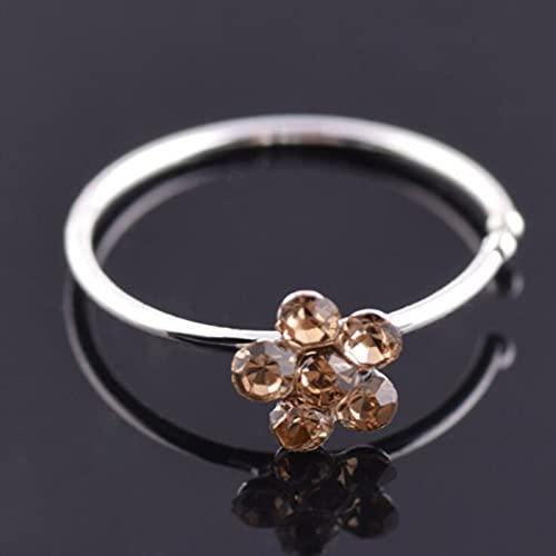 CXWK Piercing para el Cuerpo Unisex con Flor de Ciruela y Diamantes de imitación para la Nariz, aro Brillante para la Nariz