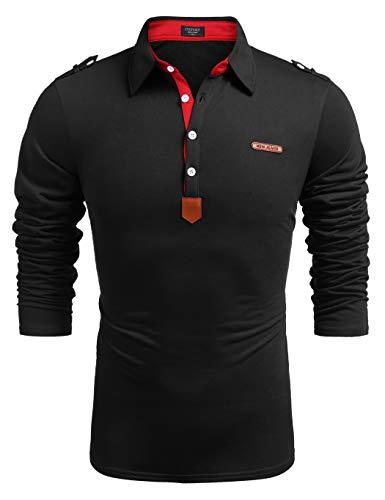 COOFANDY Polo Shirts Herren Langarm Polohemd Regular Fit Basic Casual Freizeit Einfarbiges Polohemd für Männer Schwarz XXXL