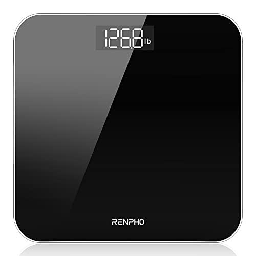 RENPHO Digitale Personenwaage, Ultraschlanke Körperwaage mit Hochpräzisions-Sensoren, Gewichtswaage mit Step-On-Technik, Schwarz
