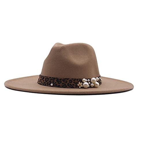 ileibmaoz Fedora Trilby Sombrero De Vestir Sombrero De Jazz Masculino De Moda De Otoño E Invierno Sombrero De Escenario Sombrero De Copa Retro Británico Sombrero De Mujer-Camel_M (56-58Cm)