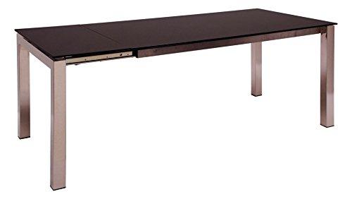 Talia mesa extensible acero cromado sobres y extensiones de cristal negro para comedor de diseno