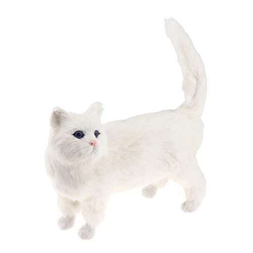 6カラー 手芸品 リアル ソフト 子猫モデル 猫模型 猫フィギュア おもちゃ - ホワイト