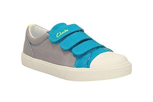 CLARKS - Boys Canvas - 12.5 UK Child - Clarks Club Halcy Inf Grey Combi - Grey Combi - 12.5 UK Child - F