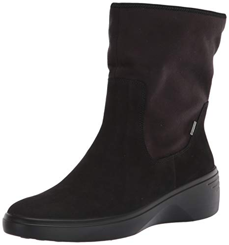 ECCO Women's Soft 7 Wedge Mid Gore-TEX Boot Calf, Black/Black Nubuck, 9-9.5