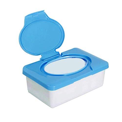 Suytan 2 Piezas Caja de Toallitas para Bebés Caja de Plástico para Pañuelos Organizador de Pañales Dispensador de Toallitas de Plástico Azul