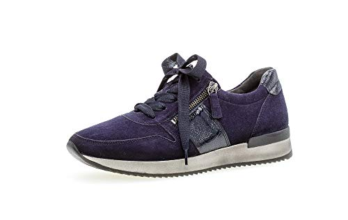 Gabor Damen Sneaker, Frauen Low-Top Sneaker,Best Fitting,Reißverschluss,Übergrößen,Optifit- Wechselfußbett, weiblich Women,Bluette,39 EU / 6 UK