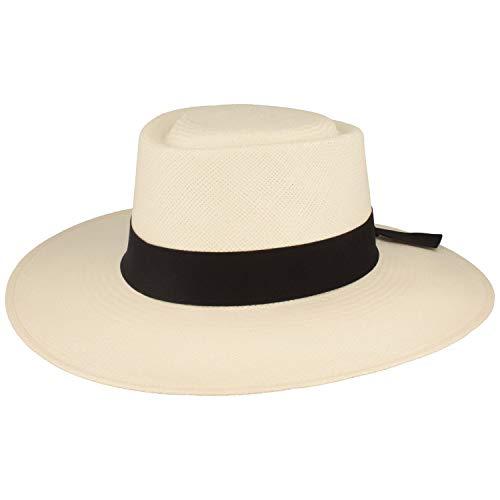 Sombrero panamá original para mujer, sombrero de paja Panama, de poliéster, sombrero de paja de verano de Ecuador, tradicionalmente trenzado, protección UV 50+ Blanco Medium