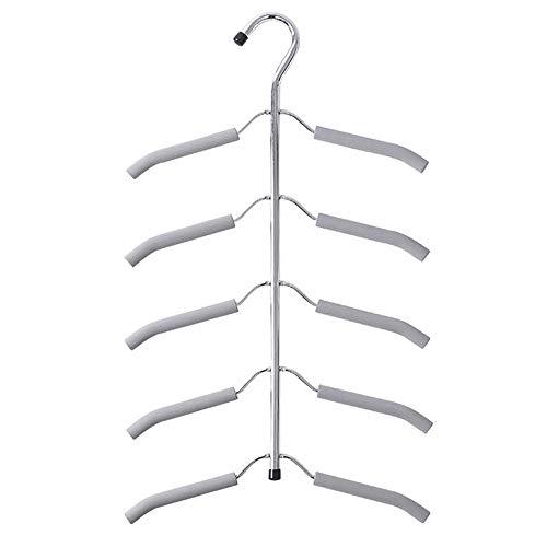 Perchas de Abrigo 5 Piezas de la suspensión Durable de múltiples Capas de la suspensión de Ahorro de Espacio de Metal para Trajes Pantalones Camisas (Color : Gray, Size : 40 * 53cm)