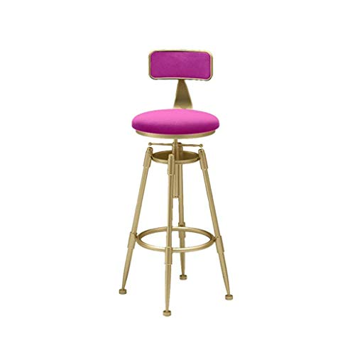 WEHOLY Drehhocker Weiches Kissen Teestube Freizeithocker Gartenhocker Multifunktionale Metall Anti-Rost-Rückenlehne Stuhl (Farbe: Rot)