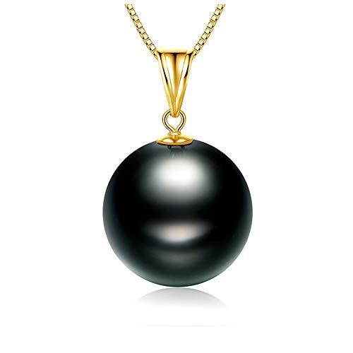 HLMAX Colgante De Oro 18K Perla Negra De Tahití De 8-9 Mm Collar Plata De Ley 925 Cadena 45Cm con Exquisito Empaque De Caja De Joyería