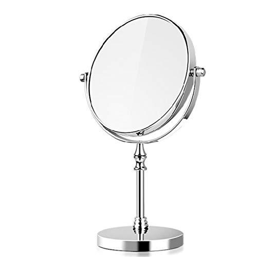 Miroir de maquillage de 8 pouces Miroir double face en acier inoxydable argent 1-10X Magnifying Mirror Desktop Mirror
