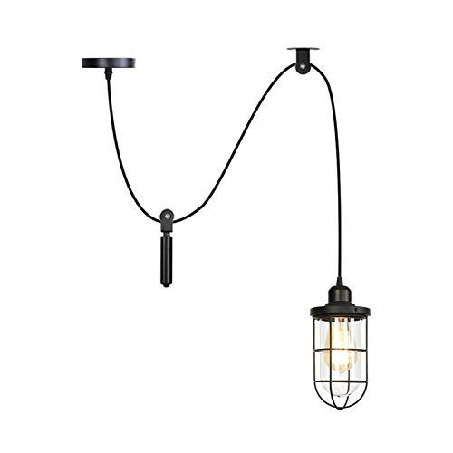 Lámparas colgantes de araña, luz de techo ajustable para bricolaje, lámpara de araña de jaula de metal industrial vintage, lámpara colgante para comedor, cocina,1 light
