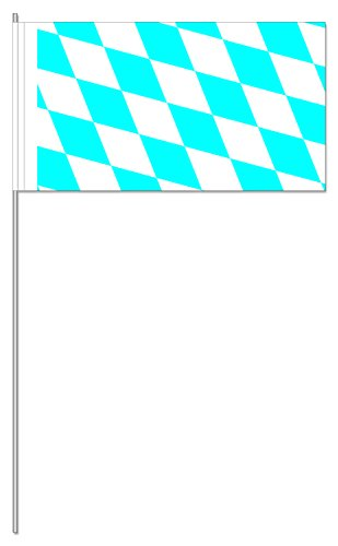 DH-Konzept 10 Fähnchen * Bayern * als Deko für Mottoparty oder Oktoberfest-Party // Public Viewing Flaggen Fahnen Papierfahnen blau Weiss Bavarian Flag