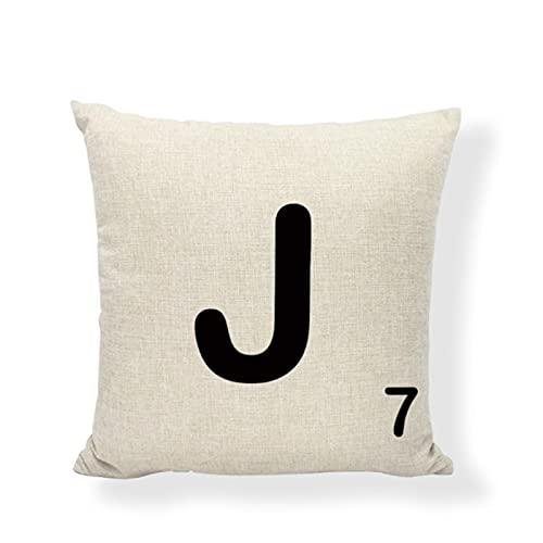 JimAndAlice Funda de cojín con Azulejos de Scrabble del Alfabeto,Juego clásico 43 * 43cm, 26 Letras, sofá de Oficina en casa, Funda de Almohada para Silla de Roca