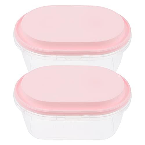 Luxshiny 2Pcs 1000Ml Cake Dozen Plastic Dessert Dozen Gebak Verpakking Ovale Muffin Dozen Bakkerij Dozen Ijs Containers Roze