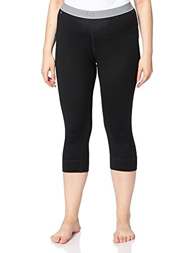 Odlo Damen Pants 3/4 Natural 100% Merino WARM Unterhose, Black, M