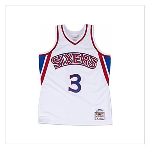 LIPENG NBA Jersey Mitchell Ness Allen Iverson # 3 Filadelfia 76ers Black Mesh Swingman Basketball Jersey Swingman Vintage Malla Bordada Jersey (Color : Vintage White, Size : S)