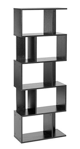 ts-ideen - Étagère Design étagère Haute bibliothèque étagère CD DVD Rangement Bois Noir 160,5 x 60 cm
