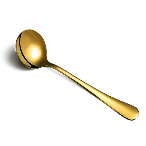 Gold Soup Spoon of 12 Berglander 75 Stainless Steel Titanium Plating Shiny Golden Round Spoons Silverware Gold Table Spoon Table Spoon Set Sturdy Easy To Clean Dishwasher Safe