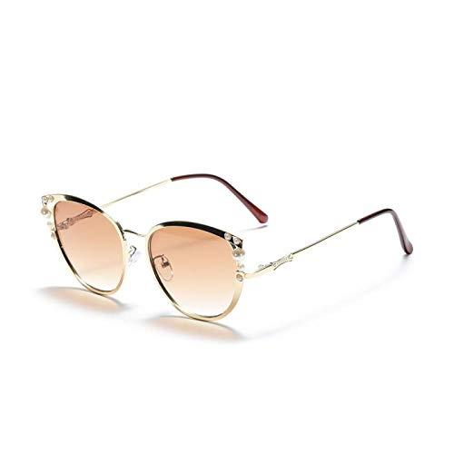 HAOMAO Gafas de Sol de Ojo de Gato con Perla degradada con Montura Extragrande Vintage Uv400 para Mujer 1