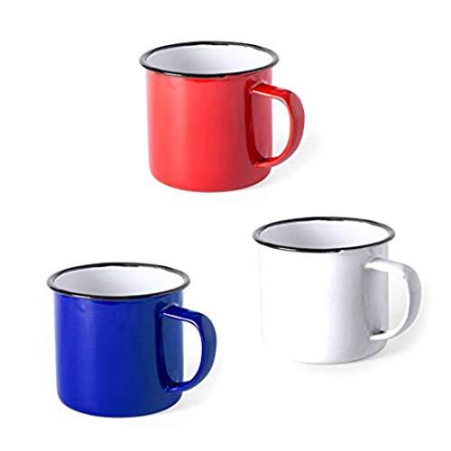 FUN FAN LINE - Set de Tazas metálicas Vintage o Retro presentada en Caja Individual (Rojo, Azul y Blanco, 12 Tazas)