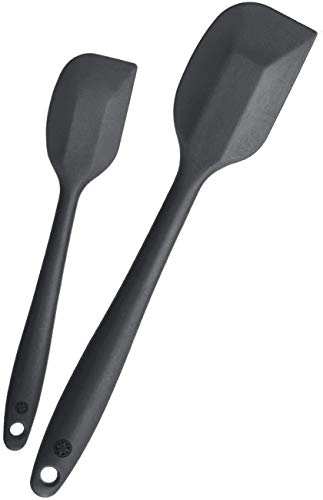 StarPack Basics Silicone Spatula Set (1 Small, 1 Large), High Heat Resistant to 480°F, Hygienic One Piece Design, Non Stick Rubber Cooking Utensil Set (Gray Black)