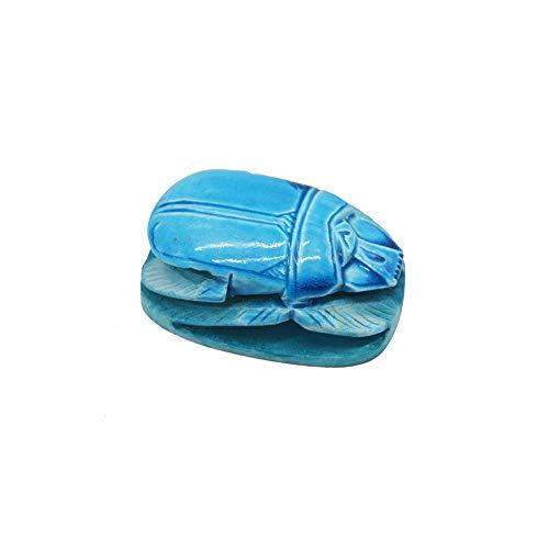 Escarabajo Hueco de Piedra Azul Hecho a Mano en Egipto. Amuleto para la Buena Suerte! Mide 8.5 * 5 cm Aproximadamente