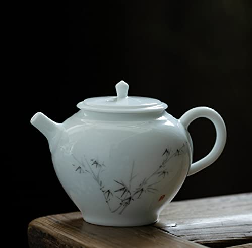 Yumu sweet white teapot ceramic semi-manual Kungfu tea set tea ceremony Japanese household white porcelain small single pot 130ml