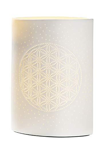 Gilde Lampe Fleur de Vie - Porcelaine - Motif de Trous H 26 cm