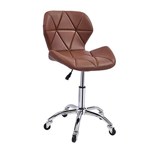 ZHJBD meubelkruk/barkrukstoel met wielen en rugbureaustoelen, fauteuil draaibare bureaustoelen, PU-leer, hoogte verstelbaar 45-55 cm Max. Laad 120 Kg Bruin