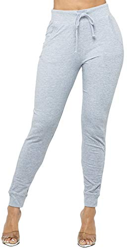 WINESTER & COMPANY Women's Joggers - Casual French Terry Elastic Waistband Sweatpants Workout Active Tapered Lounge Pants FT8900 H.Grey M