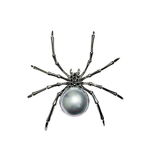 Xiton Vintage Brosche Mode Spinne Form KubikZircon Nachgeahmte Perlen-Brosche Kreative Halloween-Spinnen-Brosche Kleidung Zubehör Schwarz