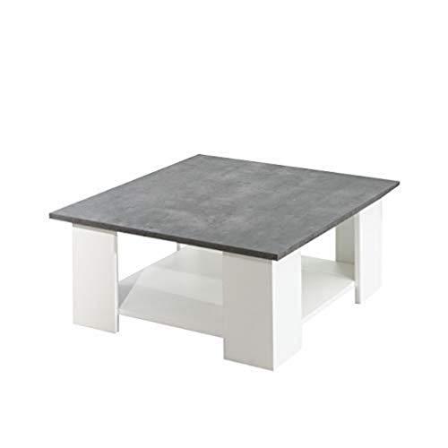 TemaHome Square Tavolino da Salotto, 67 x 67 x 30.5 cm, Bianco (Bianco/Cemento)