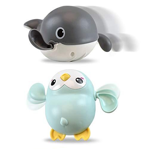 No/Brand Mokinga Juguetes Baño, Juguetes Baño Bebe, 2PCS ABS Baby Shower Toys, Juguetes de Cuerda para Bebés Adecuados para Niños y Niñas Mayores De 18 Meses (Estilo: Pingüino Verde, Ballena Gris)